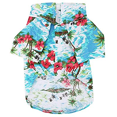 Pet Hawaiian Shirt Fashionable Breathable Dog Summer T-Shirt Comfortable Seaside Resort Style Pet Clothes Puppy Clothing for Small to Medium Dogs Cats(L)