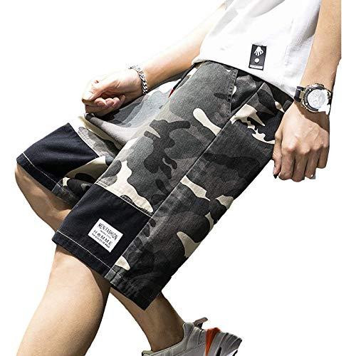 Pantalones Cortos Rectos con cordón de Cintura elástica de Verano para Hombre, Pantalones Cortos básicos con Estampado de Camuflaje Informal de Tendencia de sección Delgada, versión Diaria 5XL