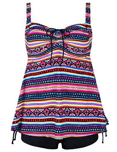 Hilor Women's Retro Drawstring Ruched Halter Floral Tankini Set Two Piece Swimsuit Color Stripes 26
