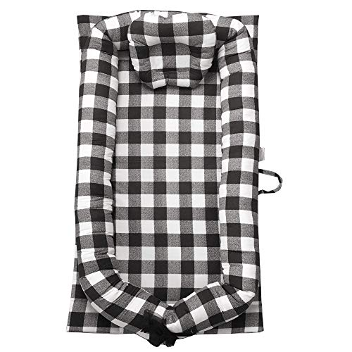 Find Discount Abreeze Baby Bassinet for Bed Infant Baby Nest Bed Black Buffalo Plaid Baby Lounger Co...