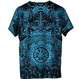 2021 Hombres Moda Vikingo Valkyrie Mjolnir Camiseta Manga Corta, Primavera Verano Casual Playa Secado Rápido Disfraz 3D Tatuaje Runas Camiseta Regalo Adolescente,Azul,4XL