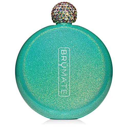 BruMate Holographic Glitter Spirit Flask - 5oz Stainless Steel Pocket & Purse Flask with Rhinestone Cap - Cute, Girly - Perfect Gift for Women (Peacock)