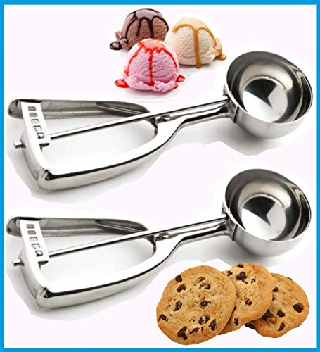 SuperEze Medium Cookie Dough & Ice Cream Scoop. Best Heavy Duty Stainless Steel Disher Scoops - Perfect for Ice-Cream & Cookies - 2 Pack Set of Size 24 Metal Scoopers (2x 50 mm)