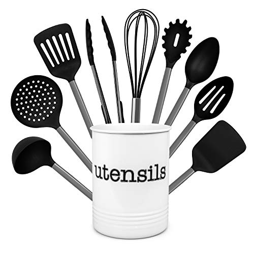 Country Kitchen 10 Piece Nylon Cooking Utensil Set with Holder, Kitchen Tools and Gadgets with Rounded Gunmetal Handles - Black