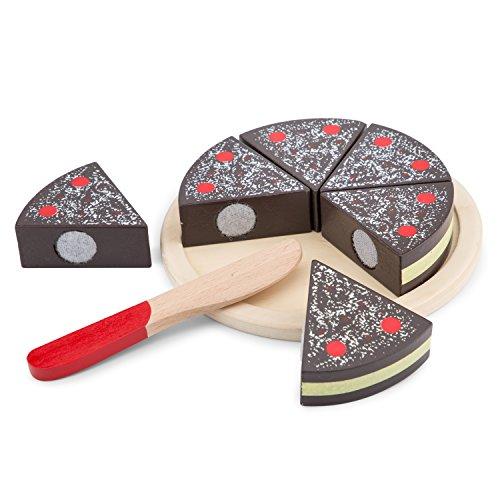 New Classic Toys - 10584 - Jeu D'imitation - Cuisine - Gâteau à Découper - Chocolat Noir