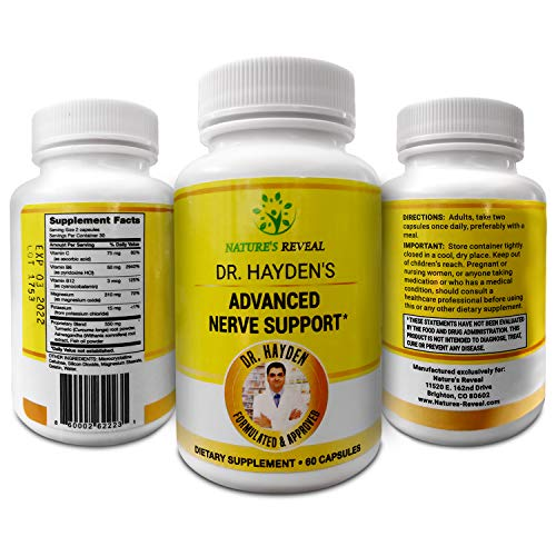 Dr. Hayden's Advanced Nerve & Natural Nervous System Support Supplement Containing Herbs Ashwagandha, Turmeric, Fish Oil, Magnesium. Best Formula to Calm Stress, Stem Fatigue & Improve Mental Clarity