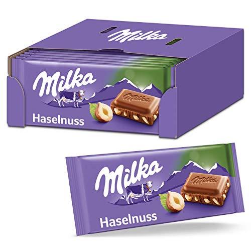 Milka Haselnuss Schokoladentafel 22 x 100g, Zartschmelzende Milka Alpenmilch Schokolade mit feinen Haselnüssen
