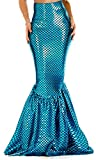 Forplay Women's High-Waisted Mermaid Skirt with Hologram Finish, Turquoise, X-Small/Small