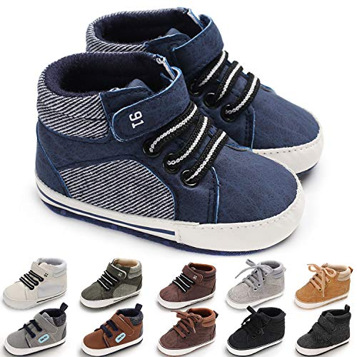 KaKaKiKi Baby Boys Girls Ankle High-Top Sneakers Shoes Soft Sole Toddler First Walker Newborn Crib Shoes, 01 Blue+strap, 12-18 Months Toddler