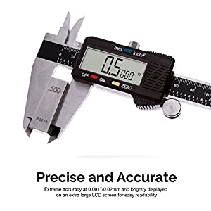 Neiko 01407A Electronic Digital Caliper Stainless Steel Body with Large LCD Screen | 0-6 Inches | Inch/Fractions/Millimeter Conversion
