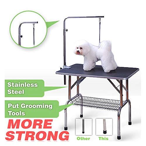 Polar Aurora Pingkay 48'' Black Heavy Duty Pet Professional Dog Show Foldable Grooming Table w/Adjustable Arm & Noose & Mesh Tray