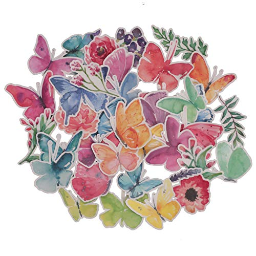 Navy Peony Watercolor Butterfly Stickers for Girls (37 Pack) - Small, Cute, Waterproof and Durable | Assorted Art Decals for Scrapbook, Laptops, Water Bottles