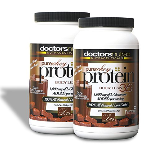 (Pack of 2) Pure 100 Percent 2 lb - Undenatured Grass Fed Whey Protein by Doctors Nutra Nutraceuticals, Double Dutch Chocolate Flavor, Natural Ultrafiltered Plus 1000 Milligrams L-Glutamine