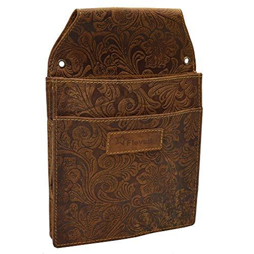 flevado Große Leder Kellner Tasche Halfter Lianen Musterung Colt, Maße: 22,5 cm x 3 cm, Black