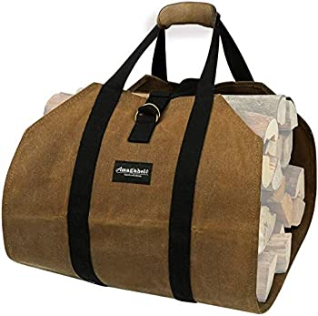 Amagabeli Fireplace Carrier Waxed Firewood Canvas Log Carrier Tote Bag Outdoor Log Tote Large Wood Carrying Bag with Handles Security Strap Camping Indoor Firewood Log Holder Birchwood Stand Brown