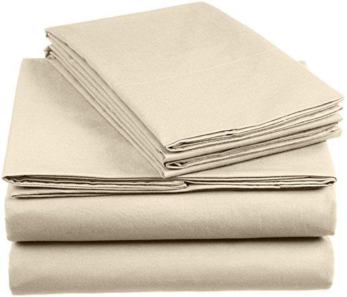 AmazonBasics 'Everyday' Bettwäscheset aus 100% Baumwolle, Tapioca260x220 cm & 2 Kissenbezüge 50x80 cm