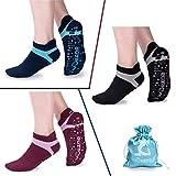 Calcetines de yoga antideslizantes para mujeres, calcetines antideslizantes de estudio Bikram Pilates Barre con empuñaduras (paquete de 3: (Negro / azul marino / Borgoña + empuñaduras de dos colores)