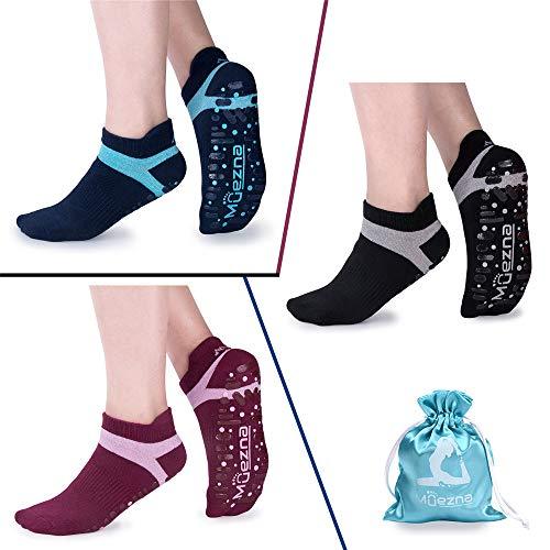 Muezna Non Slip Yoga Socks for Women, Anti-Skid Pilates, Barre, Bikram Fitness Socks with Grips, Size 5-10 (3 Pack: (Black/Navy/Burgundy)+Two-Color Grips)