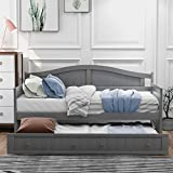SOFTSEA Wood Twin Size Daybed with Trundle for Kids Teens and Adults with Slats Support, No Box Spring Needed (Gray)