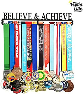 Visual Elite | Believe & Achieve (VE-785) | Medal Display Hanger | Hand-Forged Black Metal Hanger Design | The Medal Hangers Collection