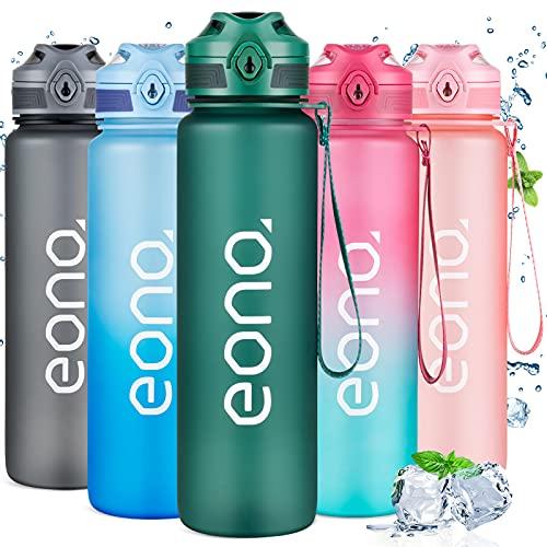 Amazon Brand - Eono Bottiglia Acqua 1 Litro - Borraccia Sportiva a Prova di Perdita Senza BPA, Borracce di Plastica con Segni Ora e Filtro per Casa, Scuola, Palestra, Fitness, Gym, All'aperto
