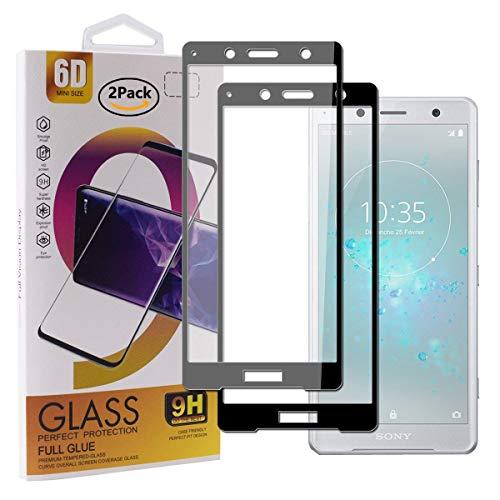 Guran [2 Paquete Protector de Pantalla para Sony Xperia XZ2 Compact Smartphone Cobertura Completa Protección 9H Dureza Alta Definicion Vidrio Templado Película - Negro