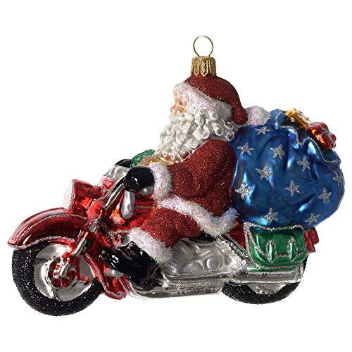 Holyart Weihnachtsmann auf Motorrad mundgeblasenen Glas f?r Tannenbaum