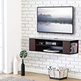 FITUEYES Wall Mounted Media Console Modern Floating TV Stand Shelf Entertainment Center Storage Component Shelves for Xbox one /PS4/ vizio/Sumsung/Sony TV,Brown