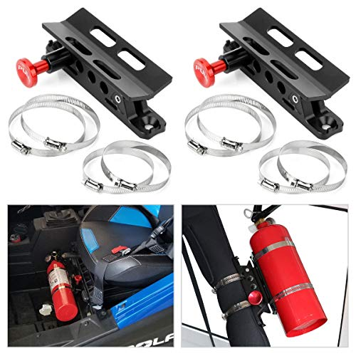 Quick Release Aluminum Fire Extinguisher Holder Mount Bracket Roll Bar Mount Bottle Holder Adjustable with 4 Clamps for Wrangler TJ JK JL JKU UTV Polaris RZR Ranger (2PCS Black)