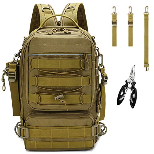 Meprona Fishing Tackle Backpack Storage Bag, Outdoor Shoulder Backpack, Water-Resistant Fishing Gear Bags with Rod...