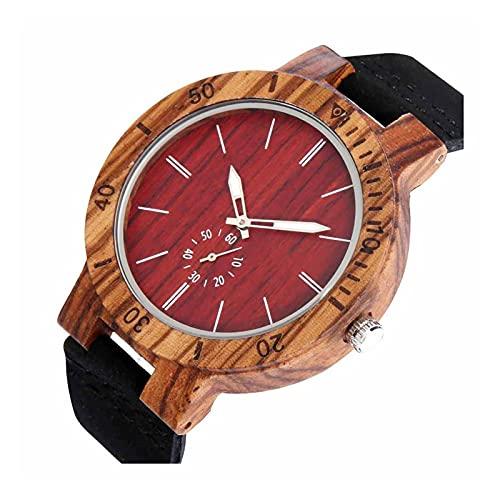 yuyan Reloj de Madera Unisex, Relojes de Cuarzo de marcación roja de Segunda Escala multifunción, Naturales Hechos a Mano, Seguros y ecológicos, no tóxicos, Hombres.