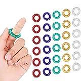 30 Stücke Stachelige Sensorische Finger Ringe, Stacheliger Finger Ring/Akupressur Ring Set für Jugendliche, Erwachsene, Still Stress Reduzierstück und Massagegerät