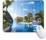 Benutzerdefiniertes Büro Mauspad,Ocean Summer Sunny Resort Möwe fliegt über Urlaub Villa Pavillon Palmen Swimmingpool Himmel,Anti-slip Rubber Base Gaming Mouse Pad Mat