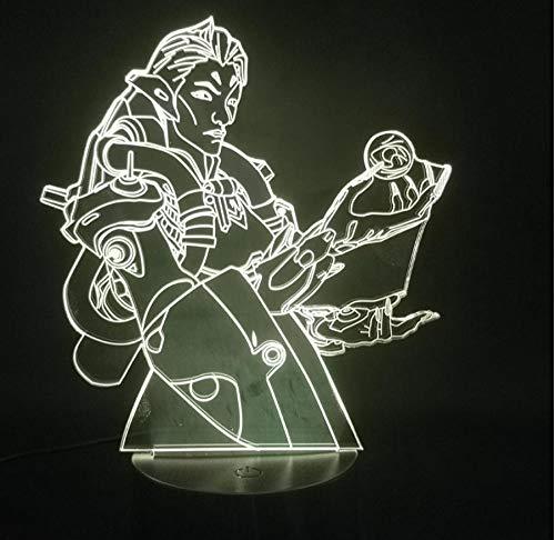 Lámpara Anime 3d,LED Óptico Lámpara de mesa Holograma Luz de noche 16 colores cambian control remoto,Regalos creativos para niños niñas,Anime Black Butler Decoración de dormitorio Luz Comic
