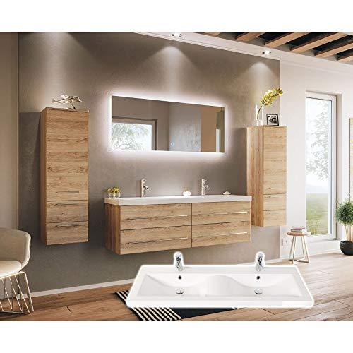 badmöbelset Elegantes Doppel-Badezimmer Möbelset Eiche hell mit Waschplatz in Wellenform