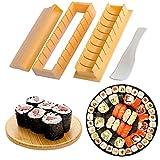 Kit para Hacer Sushi,4Pcs Sushi Maker kit, Juego de Sushi Equipo para Hacer Sushi Set de Sushi kit del Fabricante Fácil y Divertido DIY Set de Sushi Roll Arroz Rollo Molde - Rollitos de Maki