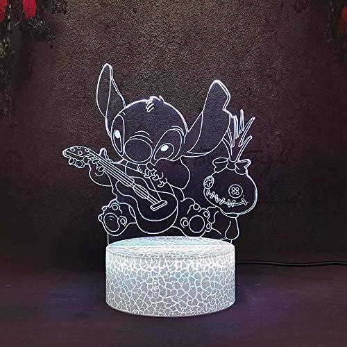 USB 3D LED Luz Noche Stitch Play Guita 16 Colores Cambiantes Táctil Lámpara de Escritorio para Niños Cumpleaños Regalos de Navidad