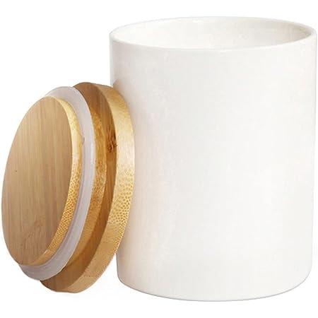 77L Récipient Bocal, Pot de stockage de nourriture boîtes pot récipient en céramique avec couvercle en bambou et joint en silicone 300 ML (10.13 FL OZ)