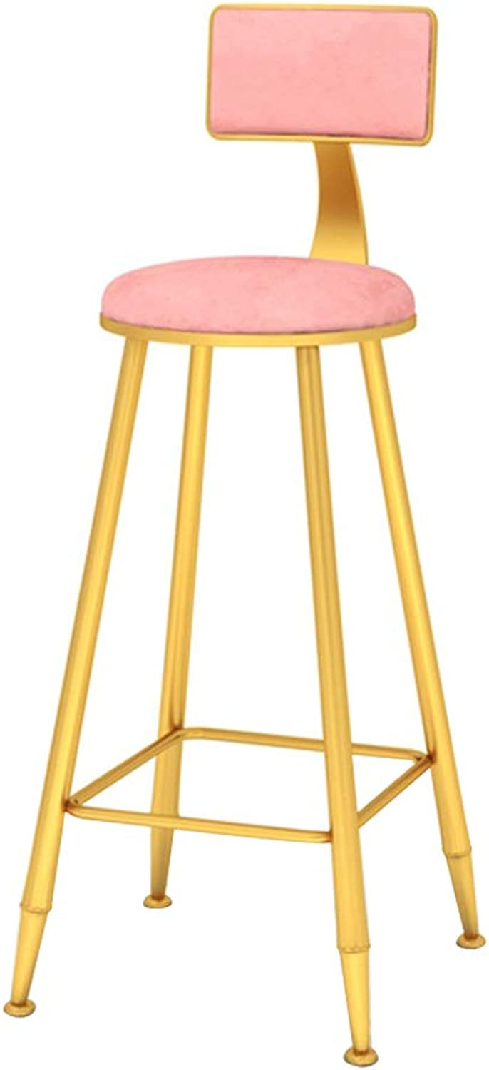 Casual High Chair Backrest, Comfortable Velvet Cushion, Suitable for Kitchen, Bar, gold