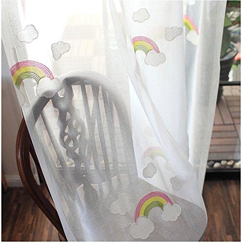 CYSTYLE Neue 1er Regenbogen Schal Vorhang Dekosachl Transparent Vorhänge Kinderzimmer Mädchen Junge (150 x 270 cm)
