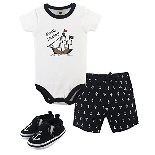 Hudson Baby Unisex Baby Cotton Bodysuit, Shorts and Shoe Set, Pirate, 12-18 Months