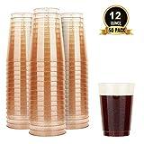 TOROTON 50 Stück Plastik Becher mit Glitzer, 350ml Wiederverwendbare und recycelbare Weinbecher,...