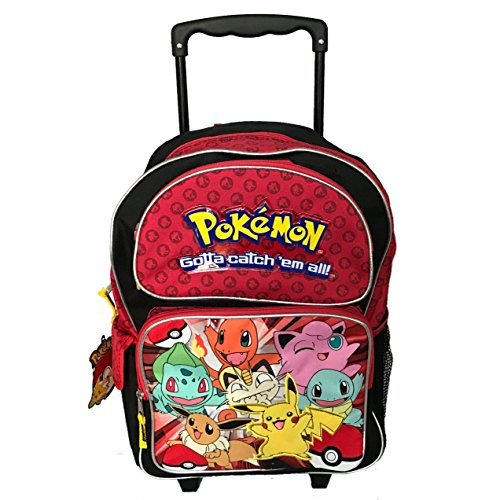 Grand trolley sac a dos POKEMON rouge primaire 40x 30cm