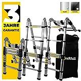 WORHAN/® 5.6m TELESKOPLEITER ANLEGELEITER KLAPPLEITER TELESKOP LEITER MULTIFUNKTTIONS LEITER K5.6+bag