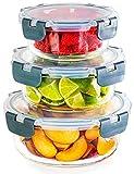 Igluu Meal Prep Container aus Glas – 3er Set Runde Glasbehälter in Verschiedenen Größen –Lunch Box Zur Aufbewahrung von Essen für Gefrierschrank, Mikrowelle & Ofen – BPA frei & Spülmaschinengeeignet