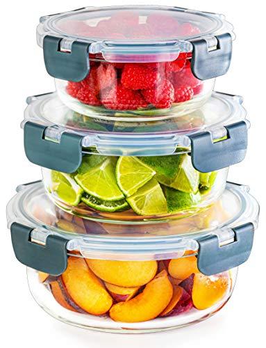 Lot de 3 récipients ronds en verre empilables - Stockage des aliments - Compatible congélateur, micro-ondes, four et lave-vaisselle, bols sans BPA - Couvercles hermétiques (différentes tailles)