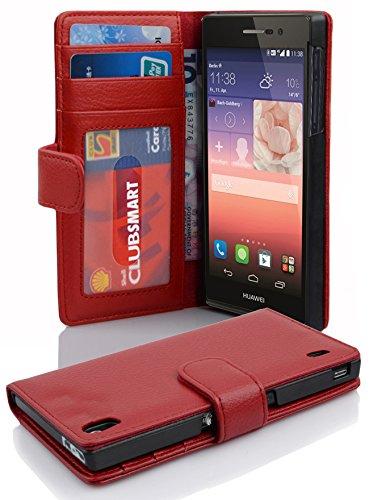 Cadorabo Hülle für Huawei P7 in Inferno ROT – Handyhülle mit Magnetverschluss & 3 Kartenfächern – Hülle Cover Schutzhülle Etui Tasche Book Klapp Style
