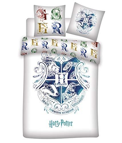 Familando Wende Bettwäsche-Set Harry Potter 135 x 200 cm 80 x 80 cm · 100% Baumwolle · Hogwarts · deutsche Größe · Sommer-Bettwäsche