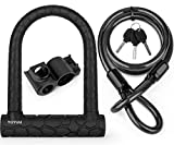 Candado en U para bicicleta, candado en D de grillete resistente con 3 llaves, cable de acero flexible de 1,2 m y soporte de montaje