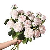 1 ramo de rosa artificial, 3 cabezas de rosa de seda, flores falsas realistas, arreglos de flores realistas, mesa de casa, decoración de oficina, centros de mesa